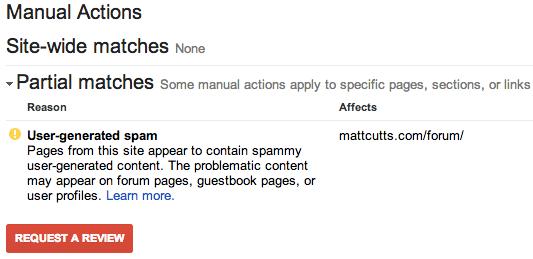 Penalizado por acciones Manuales en webmastertools de google
