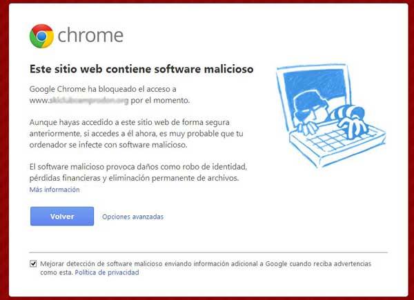 google bloquea mi web