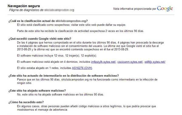 Informe webmasters tools software malintencionado