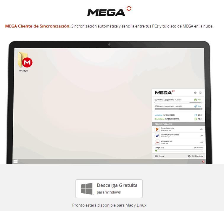 almacenamiento web mega cliente de escritorio