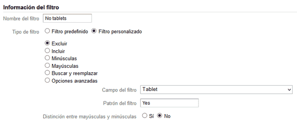 filtros en analytics excluyendo tablets