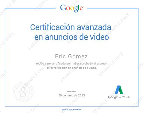 certificación avanzada de anuncios de vídeo