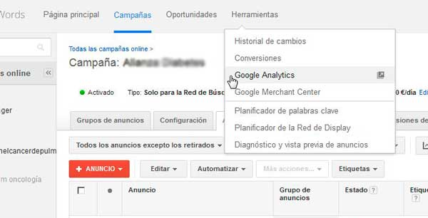 como enlazar adwords con analytics
